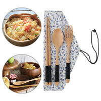Style Cutlery Set Portable Wooden Cloth Bag Natural Spoon Fork Chopsticks