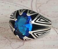 Turkish Ottoman  Sapphire Blue Gemstone 925 Sterling Silver Mens Ring Gemstone