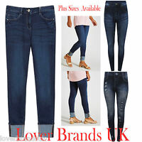 WOMENS LADIES STRETCH DENIM BLUE TURN UP PLUS SIZE JEANS  LEGGING UK 8 TO 20