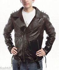 Nicolas Cage Ghost Rider Biker Black Leather Jacket size Small-4XL Men