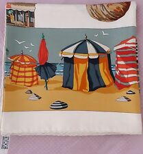 """Auth Hermes Silk Twill Scarf """"CHARMES DES PLAGES NORMANDES""""  in Ivory - 90x90cm"""