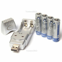 4PCS AA 2500mAh 1.2 V Ni-MH BTY Rechargeable Battery With BTY AA AAA USB Charger