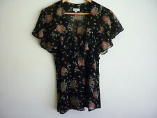 """SUSAN"" BLACK FLORAL TOP WITH FRILLED NECKLINE AND SHORT BATWING SLEEVE - SIZE 8"