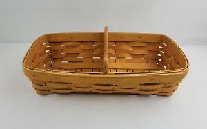 Vintage LONGABERGER Handwoven Cracker Basket Plain Single Wooden Divider
