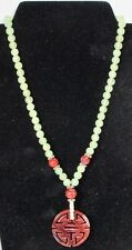 "Antique Chinese Genuine Jade and Silver Spacers 19"" Necklace"