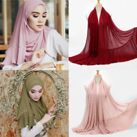 Fashion Women Pearl Chiffon Scarf Islamic Muslim Hijab Lady Crinkle Wrap Scarves