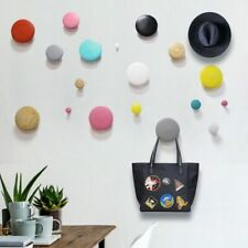 Colorful Solid Wood Dot Hooks Wall Mount Hat Bag Coat Hook Wooden Hangers Decor