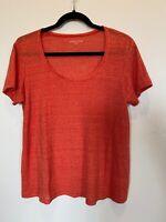 Eileen Fisher Orange LINEN Micro Striped Basic T Shirt Scoop Neck Women's XS EUC