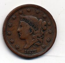 1837 CIRCULATED (FINE +) , CORONET HAIR LARGE CENT