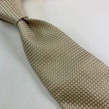 Banana Republic Mens Tie Necktie Beige Gold Diamond 100% Silk Short Career Italy