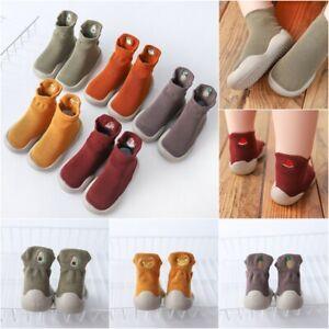 Kids Baby Girls Boys Toddler Anti-slip Slippers Socks Cotton Floor Crib Shoes UK