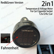 2in1 12v 24v Digital Led Voltmeter Thermometer Fahrenheit Car Cigarette Lighter
