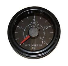 "Pyrometer 0-1600F EGT gauge, 2""/52mm, 12 ft long K thermocouple probe, black"