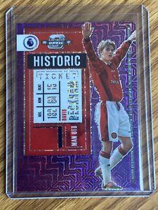 David Beckham 2020-21 Chronicles Contenders Optic Purple Mojo Historic Ticket SP