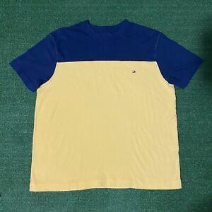 Men's Tommy Hilfiger Cut & Sew Flag Box Logo Yellow & Navy Blue Tshirt - S