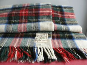 Vintage Large BURNS COUNTRY All Wool Dress Stuart Picnic Throw / Blanket •●