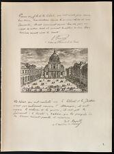 1926 - Lithographie citations de Lucien Poincarré, Paul Appell (Guerre 14 18)