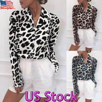 Womens Leopard Print Blouse Long Sleeve Fashion Ladies T-Shirt Office Loose Tops