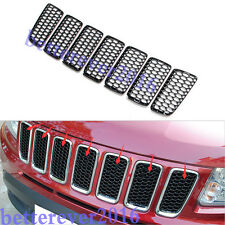 for 2011-2016 Jeep Compass Black Front Grille insert Mesh Grid Cover Trim-7pcs