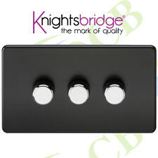Screwless 3G 2-way 10-200W (5-150W LED) trailing edge dimmer - Matt Black