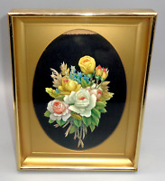 Vintage Wall Art Shadow Box 3D Decoupage Flowers Floral Paper Lacquer Picture