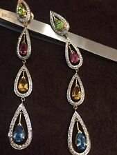 Pave 1.76 Cts Round Brilliant Cut Natural Diamonds Dangle Earrings In 18K Gold
