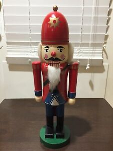 """Vintage 14"""" Hand Painted Wooden Nutcracker Christmas Decoration"""