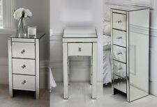 Venetian Mirrored Glass Bedside Table with 3 Drawers and Glass Handles