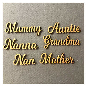 Wooden Script Words - Craft Names - Mum, Mummy, Mother, Mam, Mother, Scrapbook