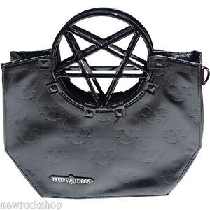 New Kreepsville 666 Pentagram Handle Purse Bag Black