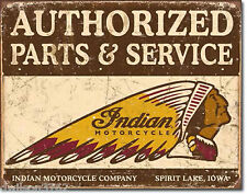Vintage Indian Motorcycle Bike Parts Service Garage Shop Wall Old Tin Ad Sign