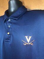 UVA Virginia Cavaliers Nike Dri-Fit Blue Polo Shirt Mens Size XL