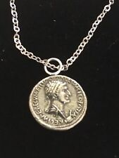 """Antony Denarius Coin WC56 English Pewter On 20"""" Silver Plated Chain Necklace"""
