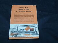 1950's Fram Oil Filter Ad Vacation Land American North West