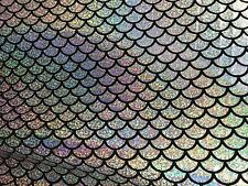 Silver Mermaid Scale 4 Way Stretch Hologram Spandex Fabric -BTY- 60""