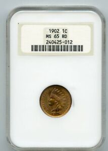 1902 1c Indian Head Penny NGC MS 65 RD