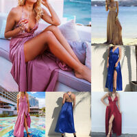Womens Wrap Satin Long Maxi Dress Backless High Slit Deep V Plunge Neck Dress