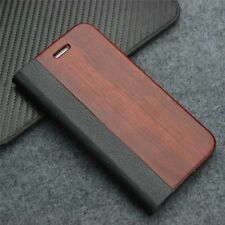 Flip Case Cover Real Wood For Samsung Galaxy S8+ S9+ S7 Edge iPhone 7+ 8 Plus