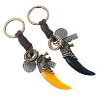 Fang Spike Keyring Pendant Bronze Men's Alloy Leather Keychain Resin Wolf Tooth