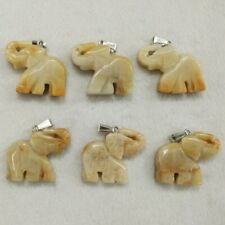 Natural Stone Yellow Jade Carved Elephants Pendants Bead for Jewelry Making 6pcs
