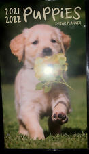 2021 2022 2 Year Monthly Planner Notes Contacts Puppies Paws Golden Retriever