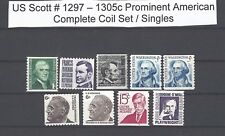 US Scott # 1297 - 1305c Prominent Americans Set of 9 Coils 9 MNH Stamps