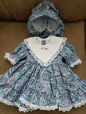 Handcrafted Blue flower print Doll Dress With White Bib Collar and bonnet