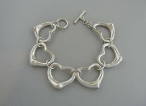 """Tiffany & Co Open Heart 8"""" Bracelet Sterling Silver Elsa Peretti"""