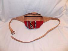 NEW FAIR TRADE VINTAGE LEATHER & WOOL HIPPY BOHO BELT BUM BAG MARRAKESH,MOROCCO