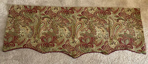 Paisley Scalloped Valance w/corded edge JCPenney Home ...green & burgundy red