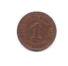 1877-A Germany One Pfennig--VERY RARE-- Red/Brown Beauty !!
