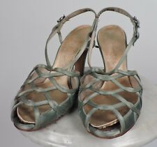 Vintage 1960'S Silk Satin High Heel Shoes W Open Detail Vamp