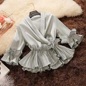 NEW Womens V Neck Chiffon Ruffles Blouses Sweet Pleated Dating Party Shirt Tops