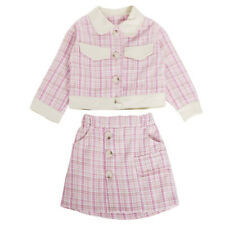 Fashion Toddler Baby Girls Thicken Plaid Coat Jacket Skirts Outfits Clothes Set